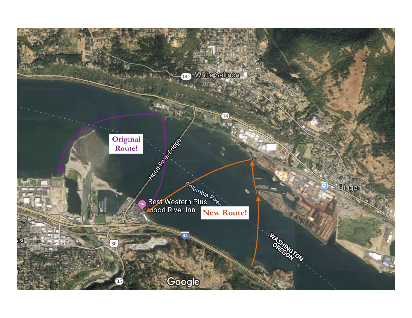 Columbia River at Hood River Swim Crossing Options
